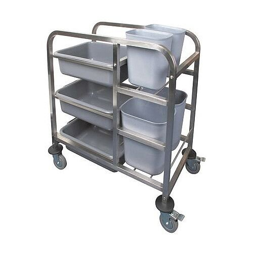 Stainless Steel Bin Clearing Trolley