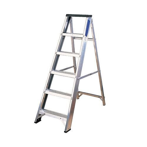 Industrial And General Purpose Aluminium Ladder 6 Steps Open Height 1.26m Silver