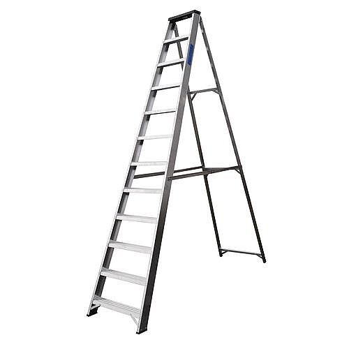 Industrial And General Purpose Aluminium Ladder 12 Steps Open Height 2.57m Silver