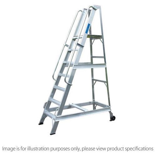 Aluminium Warehouse Steps Max Height 4005Mm To Platform 3420Mm 14 Steps Inc Platfrom