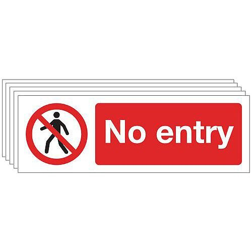 Self Adhesive Vinyl General Prohibition Sign No Entry Pack of 5