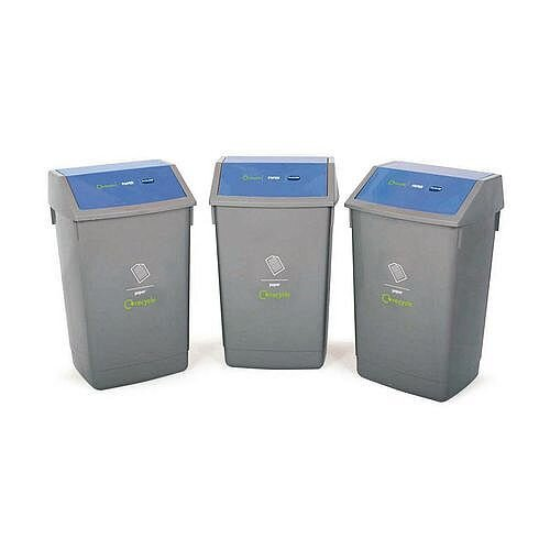 Recycling Bin Kit With Blue Lids 162L