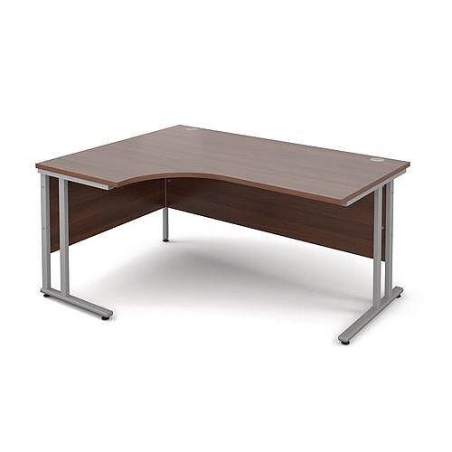 Silver Frame 1600mm Left Hand Ergonomic Desk Walnut