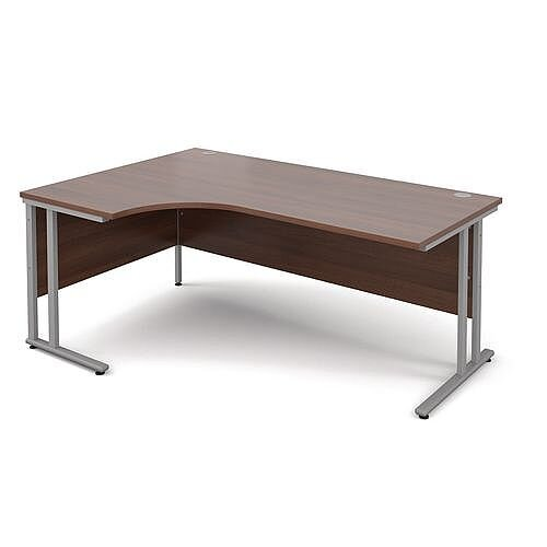 Silver Frame 1800mm Left Hand Ergonomic Desk Walnut
