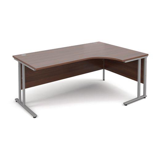 Silver Frame 1800mm Right Hand Ergonomic Desk Walnut
