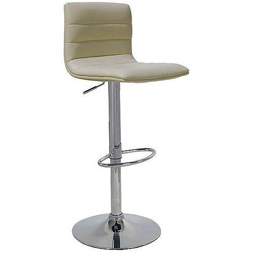 Leather Bar Stool With Back Support Cream