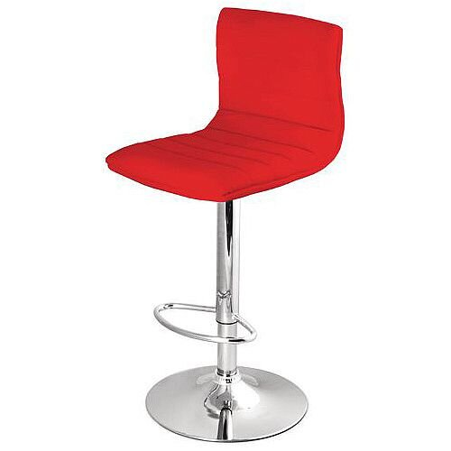Leather Bar Stool With Back Support Red