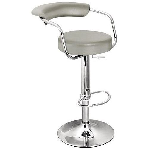 Round Leather Bar Stool Grey
