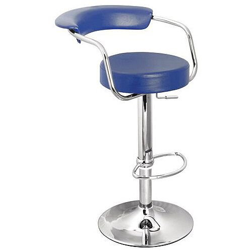 Round Leather Bar Stool Blue