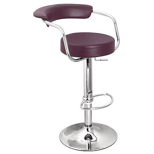 Round Leather Bar Stool Purple