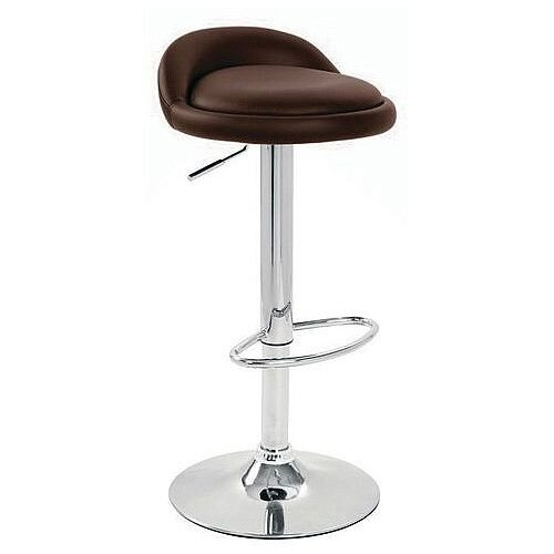 Round Leather Seat Stool Black