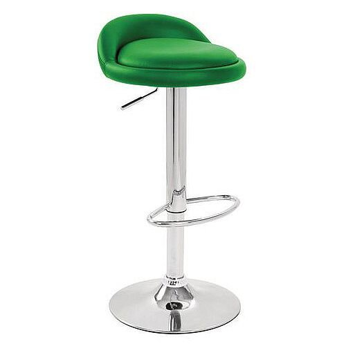 Round Leather Seat Stool Green