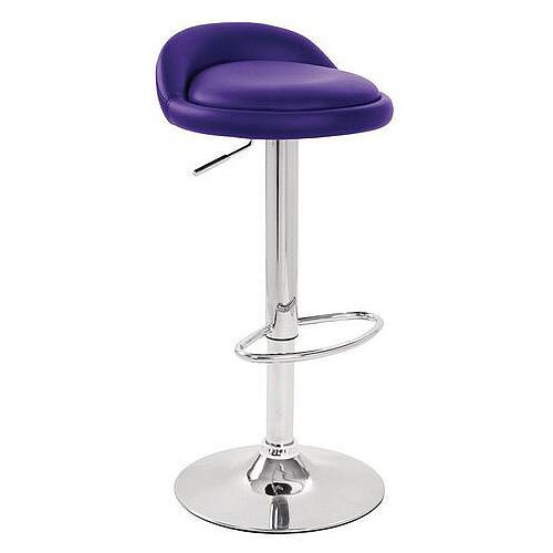 Round Leather Seat Stool Purple