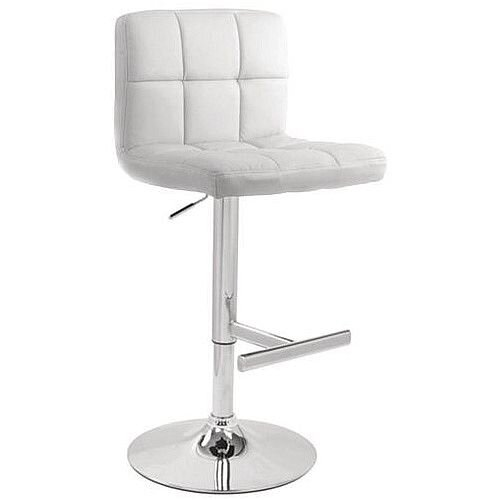 Tall Back Leather Bar Stool White