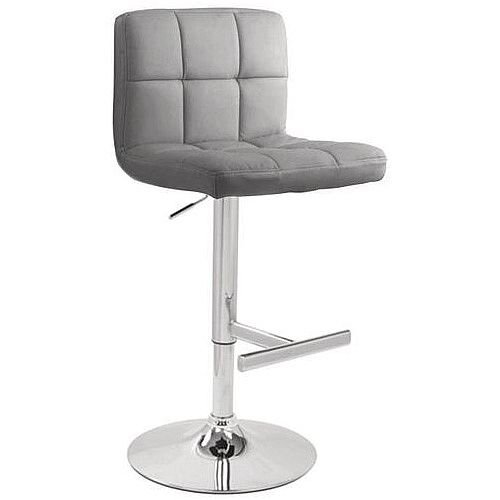 Tall Back Leather Bar Stool Grey
