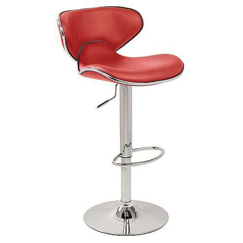 Curved Leather Bar Stool Red