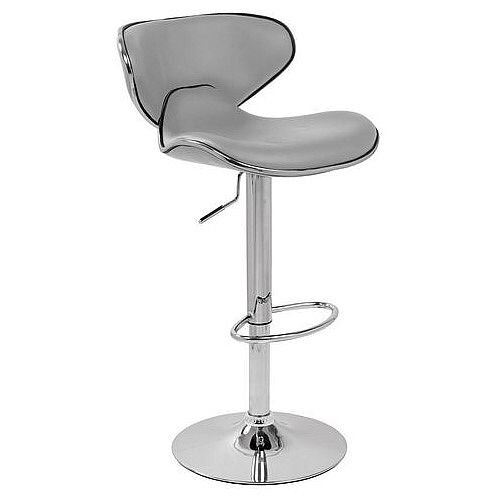 Curved Leather Bar Stool Grey