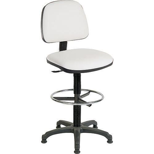 ERGO BLASTER Medium Back Draughter Chair H720 - 850mm White Leather-Look Vinyl Seat