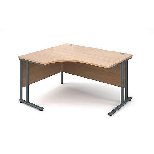1400mm Left Hand Ergonomic Desk In Beech 25mm Top &Graphite Cantilever Double Upright Legs