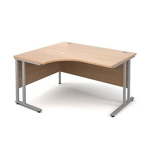 1400mm Left Hand Ergonomic Desk In Beech 25mm Top &Silver Cantilever Double Upright Legs