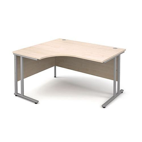1400mm Left Hand Ergonomic Desk In Maple 25mm Top &Silver Cantilever Double Upright Legs