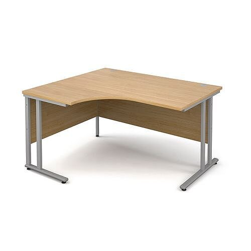 1400mm Left Hand Ergonomic Desk In Oak 25mm Top &Silver Cantilever Double Upright Legs