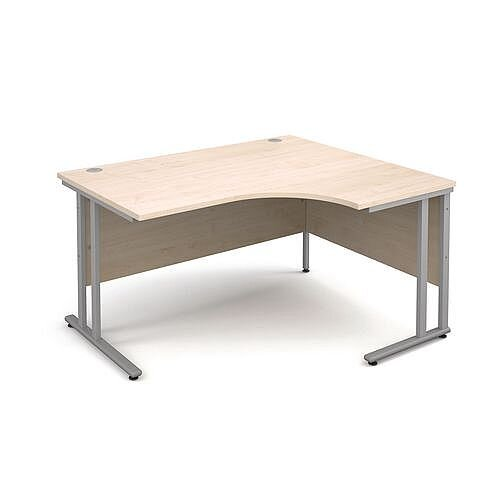 1400mm Right Hand Ergonomic Desk In Maple 25mm Top &Silver Cantilever Double Upright Legs