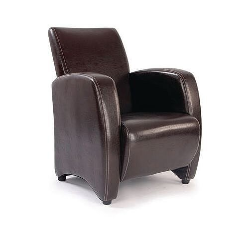 Metro Brown Leather Effect Lounge Chair