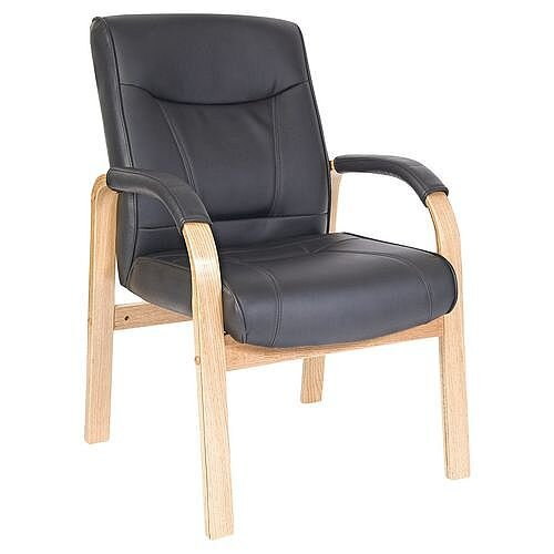 Leather Visitor Waiting Chair Light Wood