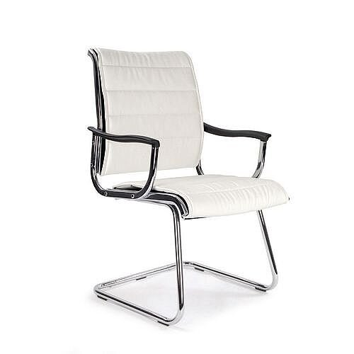 Leather Effect Chrome Visitor Chair White