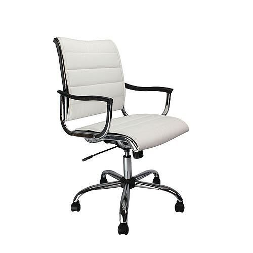 Leather Effect Designer Office Armchair With Chrome Base White