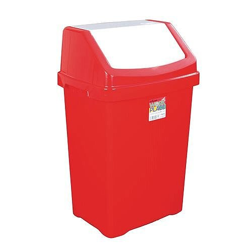 50L Workplace Swing Top Waste Bin Red