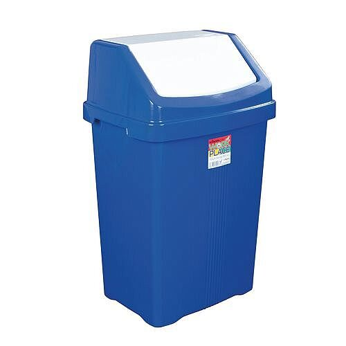 50L Workplace Swing Top Waste Bin Blue