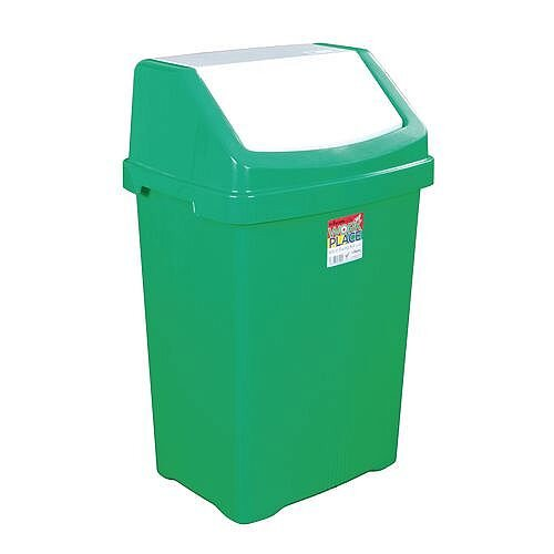 50L Workplace Swing Top Waste Bin Green