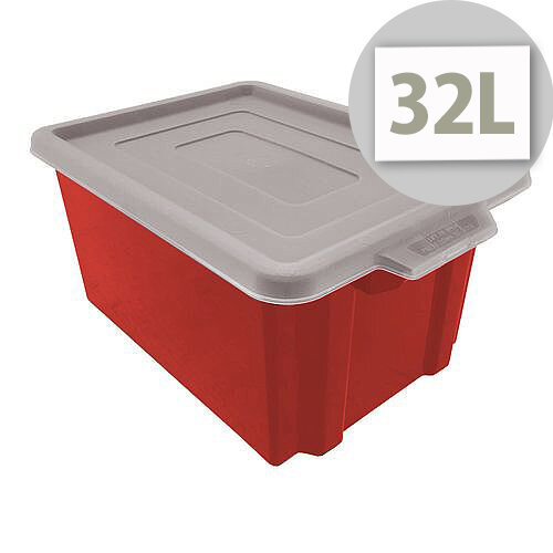 Storemaster Maxi Crate With Opaque Lid 32L Red L470xW340xH240mm