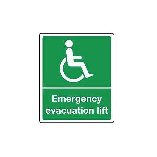 PVC Emergency Escape Sign For The Physically Impaired Emergency Evacuation Lift HxW mm: 300 x 250