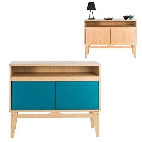 Contemporary Bureau Home Office Sideboard Desk Ash &Reversible Peacock Blue