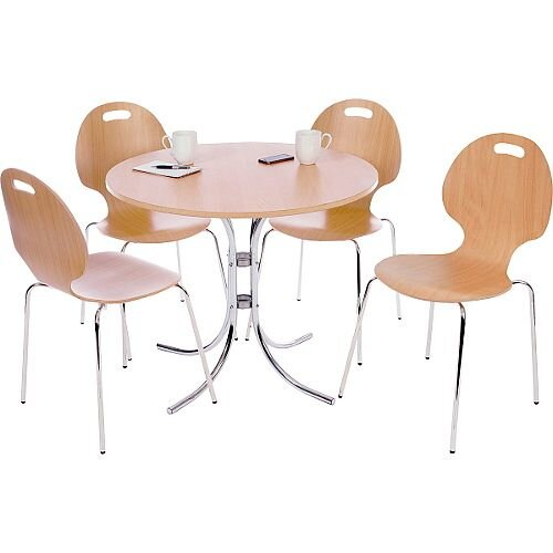 Cafe Bistro Canteen Bundle Set Table &4 Chairs