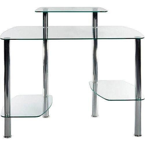 Modern Clear Glass Home Office Workstation Glacier