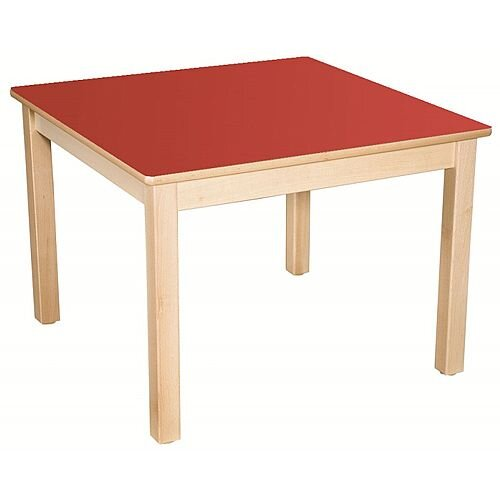 Square Preschool Table Beech Red 800x800mm 40cm High TC34002