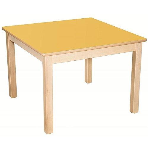 Square Preschool Table Beech Yellow 800x800mm 40cm High TC34004
