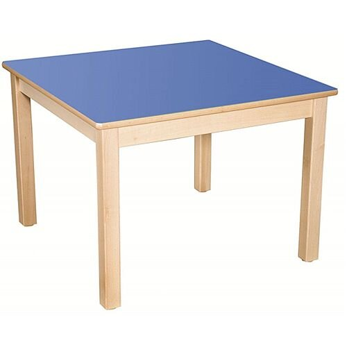 Square Preschool Table Beech Blue 800x800mm 52cm High TC35201