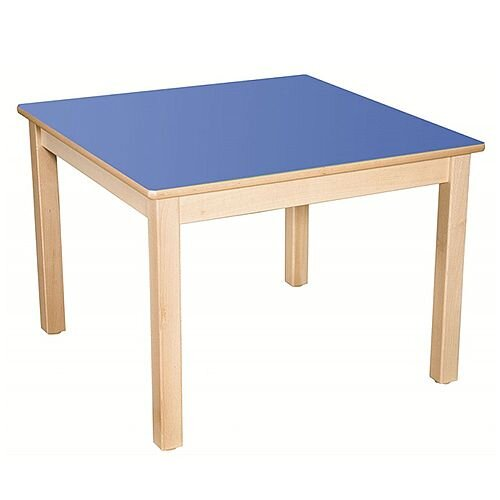 Square Primary School Table Beech Blue 80x80cm 64cm High TC36401