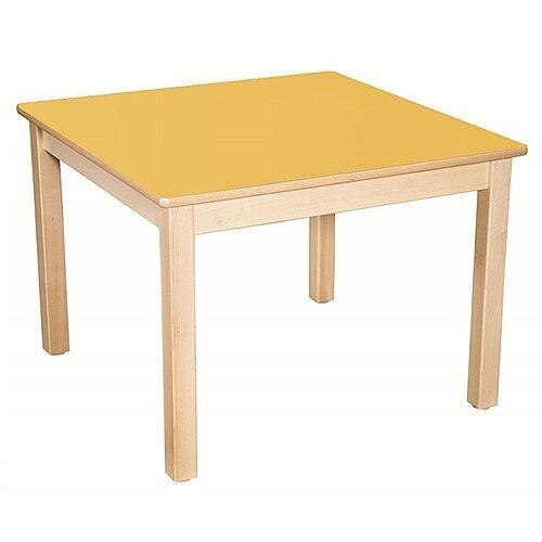 Square Primary School Table Beech Yellow 80x80cm 64cm High TC36404
