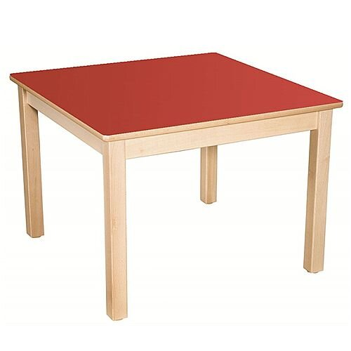 Square Primary School Table Beech Red 80x80cm 76cm High TC37602