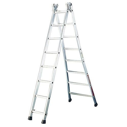 Extra Heavy Duty Two Section Transformable Aluminium Ladder Extended Height 3.48M Closed Height 2.08M
