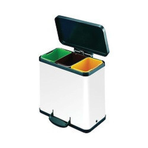 Trento Oko 3x 11 Litre Colour Coded Recycling Bins White - Waste separation system - Black plastic lid - Operated by pedal - Ideal for waste and recycling