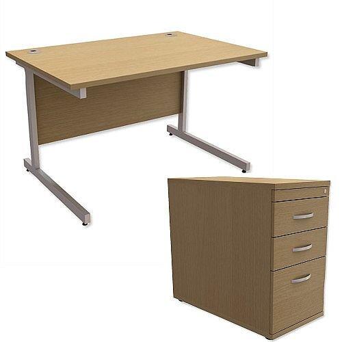 Office Desk Rectangular Silver Legs W1200mm With 800mm Deep Desk High Pedestal Urban Oak Ashford  – Cantilever Desk &Extra Storage , 25 Year Warranty