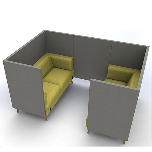Meeting Pod TRYST 4 Seater Grey &Green STK30