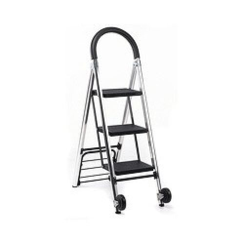 3 Step Sack Truck Mobile Step Ladder Silver 1.25m 369010